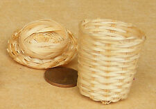 1:12 Scale Wicker Laundry Basket & Lid Dolls House Miniature Storage Accessory