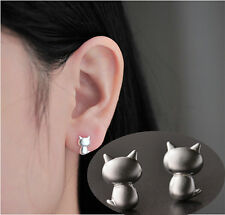 1pair Women Cute Cat Earrings Stylish Silver Ear Studs Earrings Jewelry