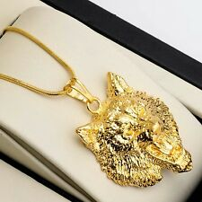 "Fashion Mens Necklace 18k Yellow Gold Filled wolf Pendant 18"" Link Chain HOT"