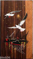 Vintage Dutch card: HAPPY NEW YEAR! Seagulls flying over harbor