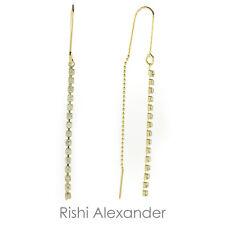 18k Gold Filled CZ Dangle Threader Earrings Handmade in Brazil