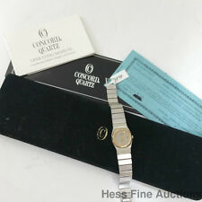 Concord Mariner SG 18k Gold Steel Ladies Date Dress Watch w Box Papers