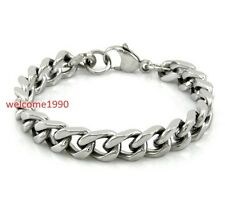 Stainless Steel Jewelry Square Curb Link Chain Bracelet Silver 10mm 8.66''