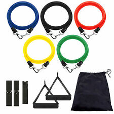 11in1 Resistance Band Set Yoga Pilates Latex Exercise Fitness Tube Workout Bands
