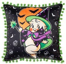 Sourpuss Kewpie Witch Throw Pillow NEW Halloween Tattoo Flash Green Spooky Bewit