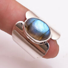 925 Sterling Silver Ring Size US7.5, Natural Labradorite Gemstone Jewelry CR2452