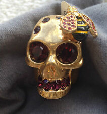 ALEXANDER McQUEEN SKULL BEE CRYSTAL DRESS RING NEW