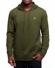 LACOSTE army green HOODIE cotton HOODED T-SHIRT! NWT! AUTHENTIC! M