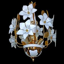 Vintage 60s Italian Murano Venini Art-Glass Flower Sputnik White/Gold Chandelier
