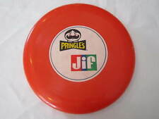 VINTAGE RED PLASTIC FRISBEE PRINGLES JIF PEANUT BUTTER LOGO OUTDOOR TOY
