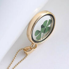 Four Leaf Clover Shamrock Real Flower Necklace Gold Plated Jewelry Lucky Charm