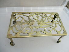 Antique Brass Trivet Cake Iron Planter Stand Holder Vintage Old Bird Ball & Claw