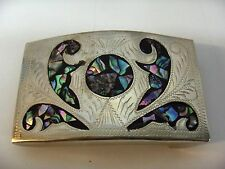 Vintage  Silver Finish Belt Buckle Mother Of Pearl Inlay Scrolls Signed