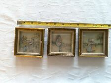 True vtg set of 3  . Dimensional small pictures of children with bonnets.