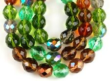 10mm Czech Topaz Green Mix Fire Polished Round Faceted Glass Loose Beads 20pcs