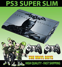 PLAYSTATION PS3 Super Slim BATMAN ARKHAM ORIGINS SKIN ADESIVO & 2 PAD Pelle