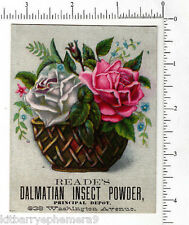 3906 John A. Reade's Dalmatian Insect Powder trade card poison roses flowers