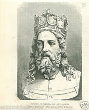 Portrait Casimir III le Grand the Great of Poland Pologne GRAVURE OLD PRINT 1869