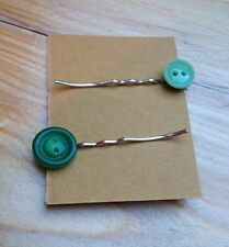 Cute Handmade Vintage Button Hair Slides/Kitsch/Plastic/Retro/Green
