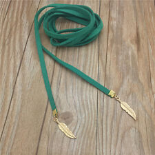 Retro Women Jewelry Green Velvet Choker Necklace Long Chain Leaf Pendant ABB20