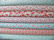 7 Fat Quarters of Bonnie & Camille's LITTLE RUBY Fabrics in Aqua ~ 1.75 yards