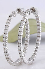 2.60 Carats VS Natural Diamond 14K Solid White Gold Hoop Earrings