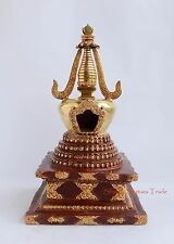 """Partly Gold Gilded 12.5"""" Stupa or Chaitya or Chhorten Copper Alloy Patan, Nepal"""