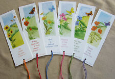 18 Butterfly Bookmarks, Bible Text, coloured tassel