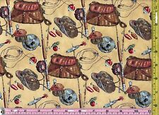 Hallmark Vintage Sport Fish Gear Tackle Quilt Fabric 1/4 yard 22.5 cm off bolt