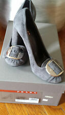 Prada Suede Shoes Hills Gray Silver Buckle w box Italy Size 37