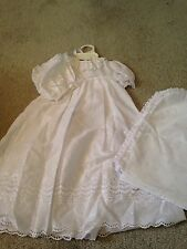 Alexis USA Christening Gown Eyelet Lace Matching Bonnet Blanket Size 6 Months