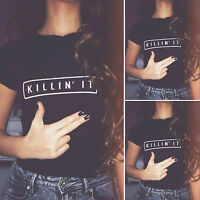 Womens Short Sleeve Letter Print T-Shirt Crew Neck Blouse Tops Party Club Shirts