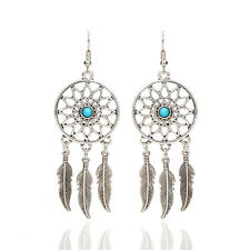 Luxury Tribal Feathers Antique Silver Turquoise Dream Catcher Dangle Earrings
