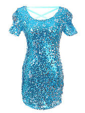 Anna-Kaci S/M Fit Metallic Aqua Scoop Neck Line Sequin Detailed Cocktail Dress