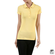 New Women's Classic Jersey Polo Shirt Top Short Sleeves Size S-3XL
