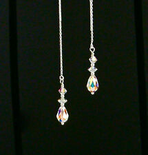 STERLING SILVER Ear Threads Threader Earrings w/SWAROVSKI CRYSTAL AB CRYSTALS