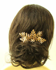Large Gold Silver Rhinestone Laurel Leaf Hair Comb Bridal Headpiece Vine 1205