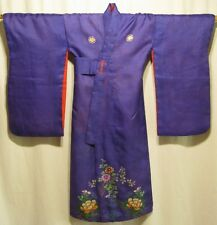 """Delicate Floral"" Vintage Japanese Girl's Silk Kimono Robe Children Collectible"