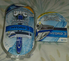 WILKINSON SWORD HYDRO 3 RAZOR AND PACK OF BLADES BRAND NEW