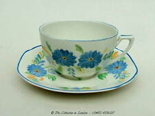 Vintage 1930's Empire Co Ltd Blue Flowers on Ivory Tea Cups  & Saucers in VGC