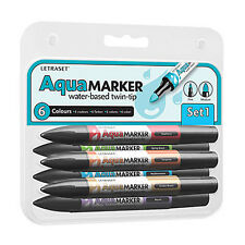 Letraset Aquamarker 6 Pen Promarker Aqua Marker Set 1