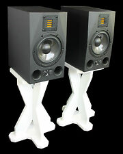 White Desk Studio Monitor/Speaker Stands 43.5cm 435mm Desktop DJ CDJ Wooden MDF