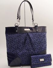 New Tommy Hilfiger Large Tote Bag & Wallet Set - Navy Blue