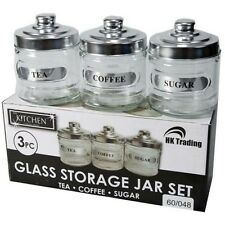 SET OF 3 GLASS TEA COFFEE SUGAR JARS KITCHEN STORAGE BEVERAGE CANSITERS POTS