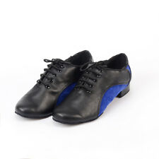 New Men's blue Latin dance shoes Genuine leather Soft bottom modern dance shoes