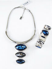 KENNETH COLE New York 'Marquis Stone' Blue Y Necklace Cuff Bracelet Set $180
