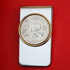 US 2008 Alaska State Quarter BU Uncirculated Coin Two Toned Money Clip New