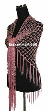 Exotic Crochet Net Sequins Belly Dance Hip Scarf, Pink