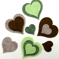 12 Heart Wool Blend Felt Die Cut Appliques - Greens