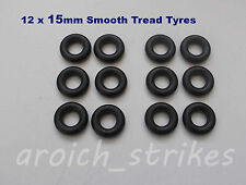 12 x NEW DINKY 15mm BLACK SMOOTH REPLACEMENT TYRES will Fit Many Other Models
